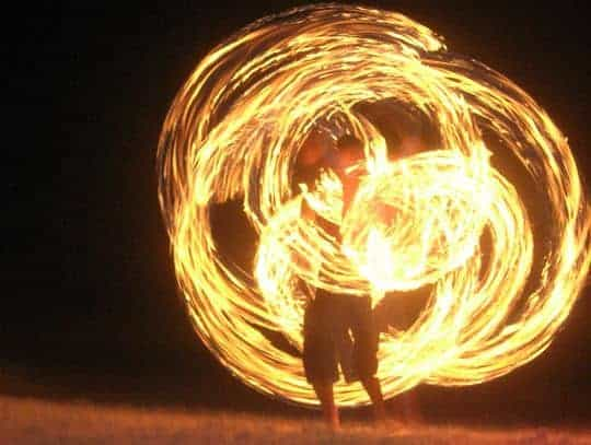 fire dancing and music on koh tao